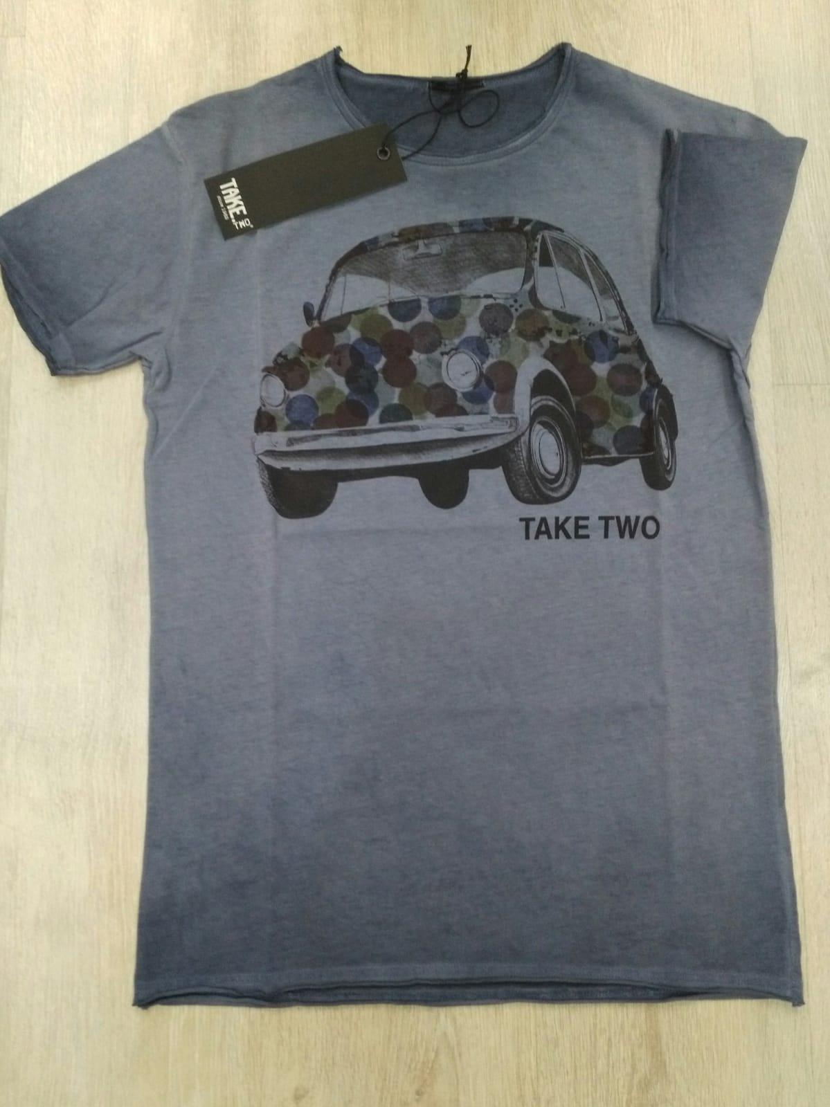 T-SHIRT TAKE-TWO UKE 338 CAR - AZZURRO
